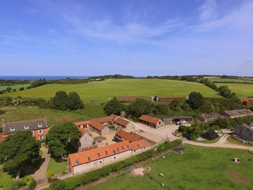 Aerial view of holiday cottages